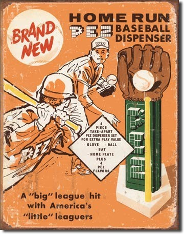 PEZ - baseball Metal Sign