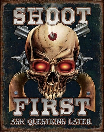 Sea - Shoot First Metal Sign