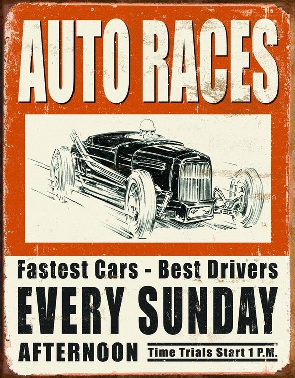 Vintage Tin Sign Automotive : Vintage auto racer tin signs metal sold at