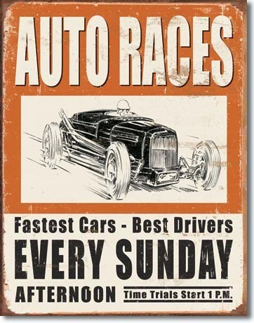 VINTAGE AUTO RACES Metal Sign