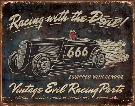 VINTAGE - Evil Racing Metal Sign