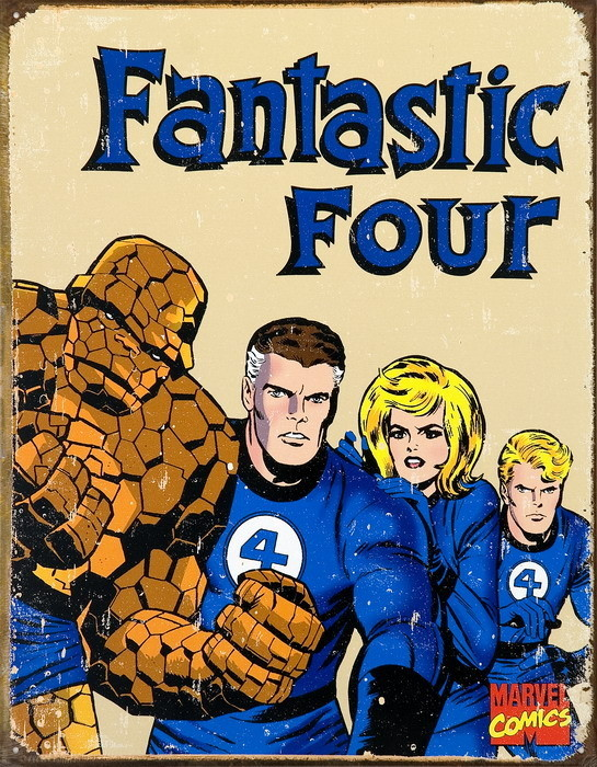 VINTAGE FANTASTIC FOUR Metal Sign