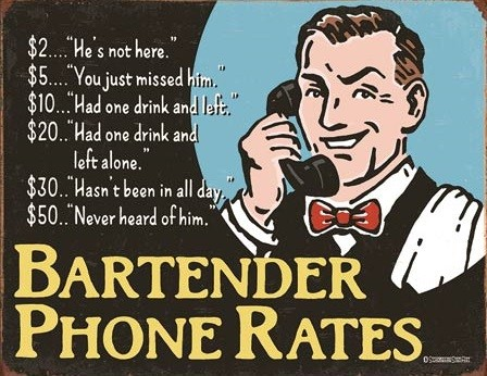 Metallikyltti Bartender's Phone Rates