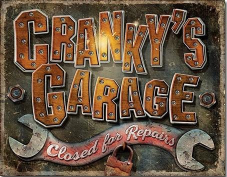 Metallikyltti Cranky's Garage