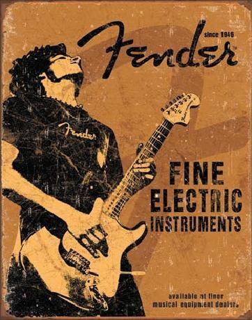 Metallikyltti FENDER - Rock On