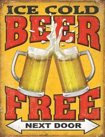 Metallikyltti Free Beer - Next Door