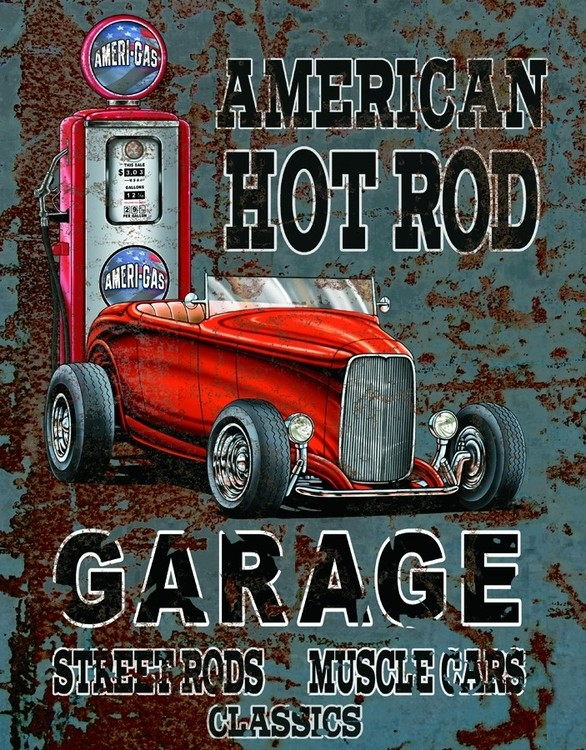 Metalllilaatta AMERICAN HOT ROD