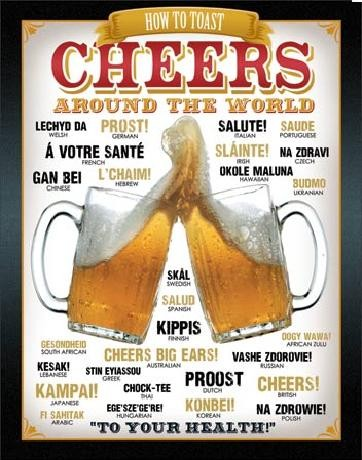 Metalllilaatta  BEER - Cheers Around The World