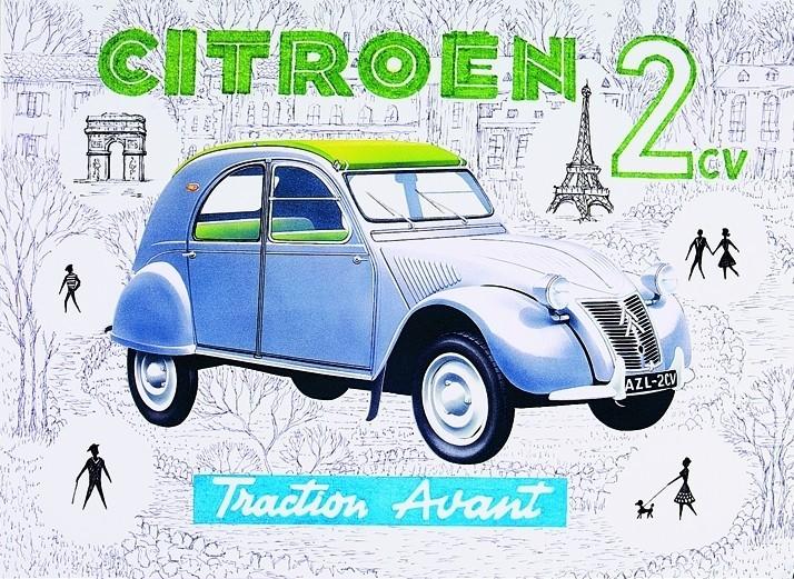 Metalllilaatta Citroën 2CV