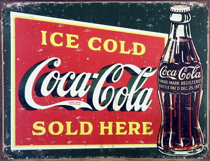 Metalllilaatta COKE VINTAGE ICE COLD