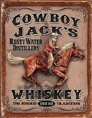 Metalllilaatta COWBOYS JACK'S - Whiskey