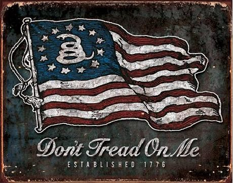 Metalllilaatta Don't Tread On Me - Vintage Flag