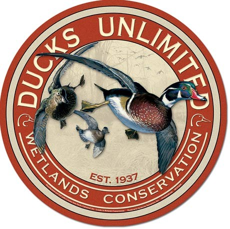 Metalllilaatta DUCKS UNLIMITED - Round