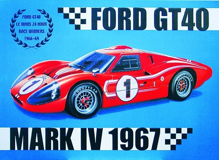 Metalllilaatta FORD GT40
