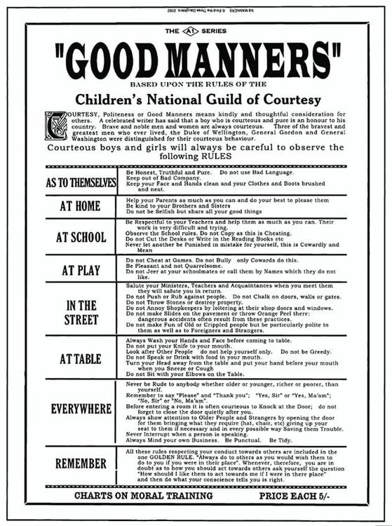 Metalllilaatta GOOD MANNERS