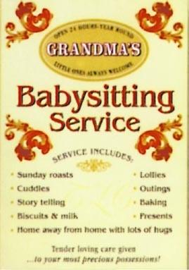 Metalllilaatta GRANDMA'S - Babysitting service
