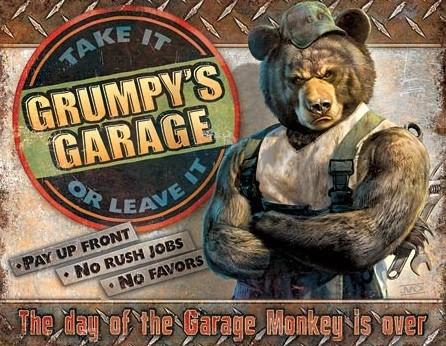Metalllilaatta Grumpy's Garage