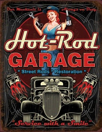 Metalllilaatta Hot Rod Garage - Pistons