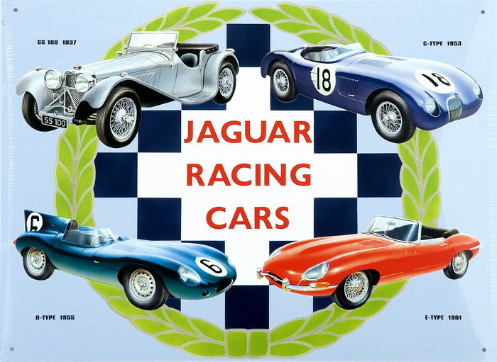 Metalllilaatta JAGUAR RACING CARS COLLAGE