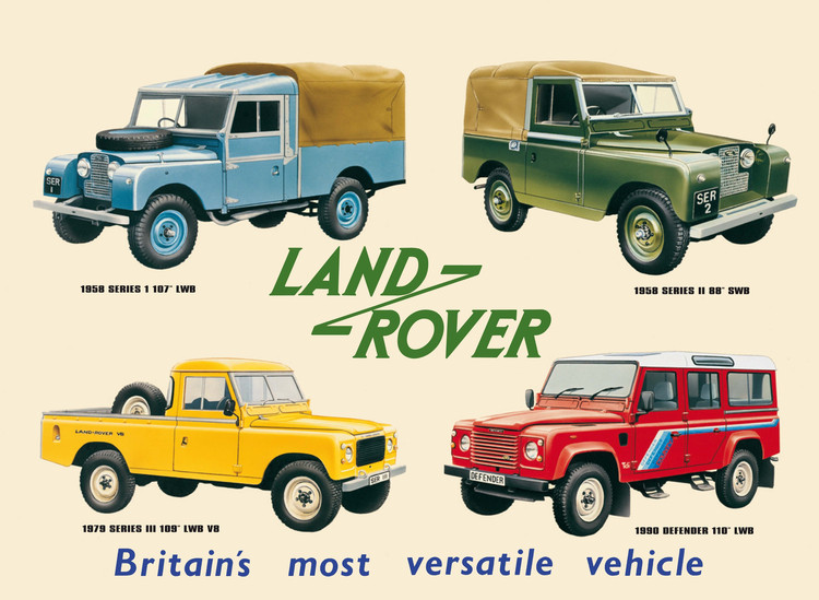 Metalllilaatta LAND ROVER COLLAGE
