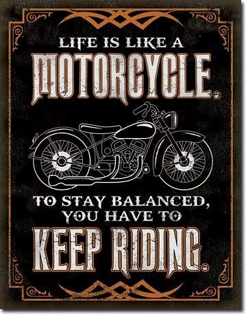 Metalllilaatta Life is Life - Motorcycle