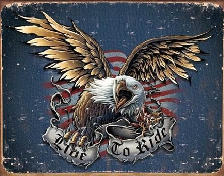 Metalllilaatta LIVE TO RIDE - eagle