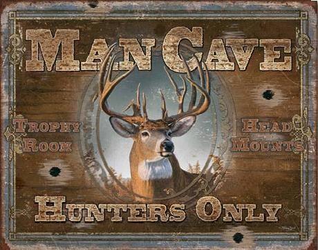 Metalllilaatta MAN CAVE - Hunters Only