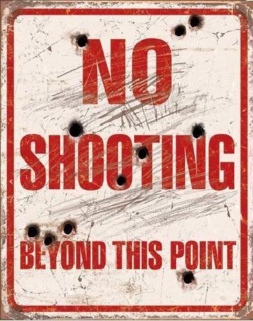 Metalllilaatta  NO SHOOTING