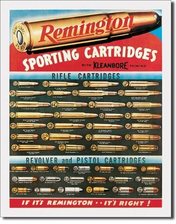 Metalllilaatta REM - remington cartridges