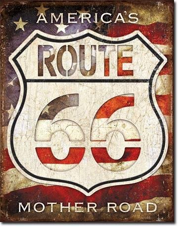 Metalllilaatta  Rt. 66 - Americas Road