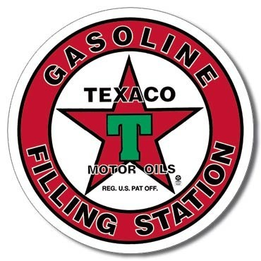Metalllilaatta TEXACO - filling station