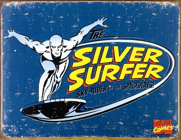 Metalllilaatta VINTAGE SILVER SURFER
