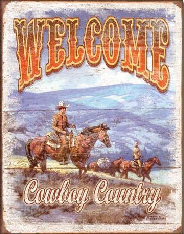 Metalllilaatta WELCOME - Cowboy Country