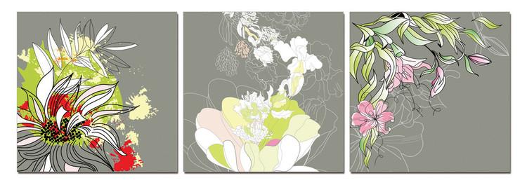 Modern Design - Colorful Blossoms Tableau Multi-Toiles