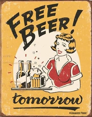 MOORE - free beer Plaque métal décorée