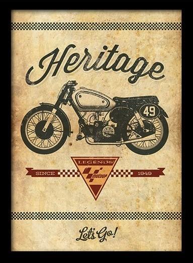 MOTO GP - heritage Poster encadré en verre