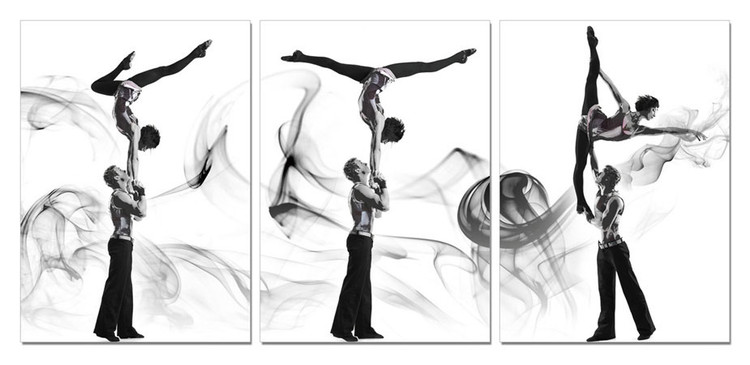 A couple of acrobatic dancers Mounted Art Print