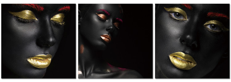 Black makeup - golden lips Mounted Art Print