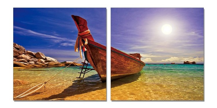 Boat at the beach Mounted Art Print