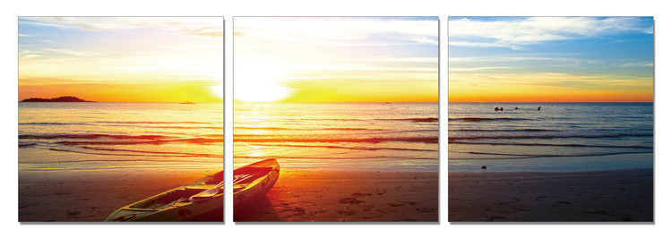 Boat in the sand at sunset Mounted Art Print