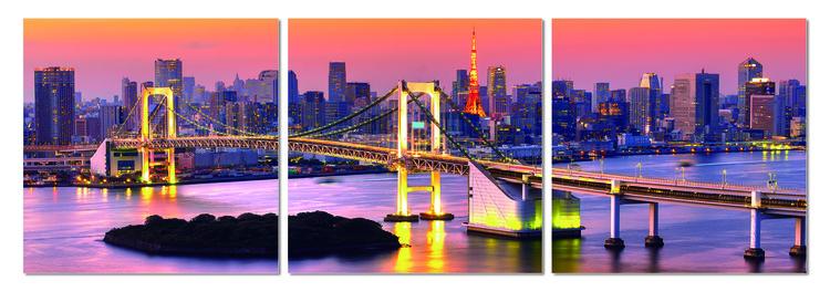 Bridge near metropolis Mounted Art Print