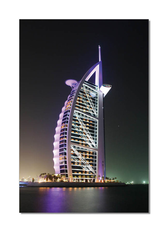 Burj Al Arab at night Mounted Art Print