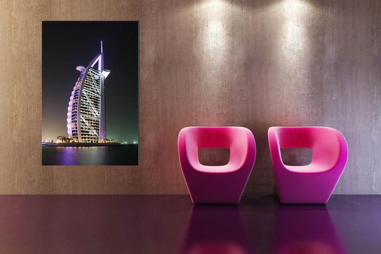 Burj Al Arab at night Mounted Art Print
