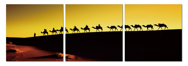 Camel caravan on the horizon Mounted Art Print
