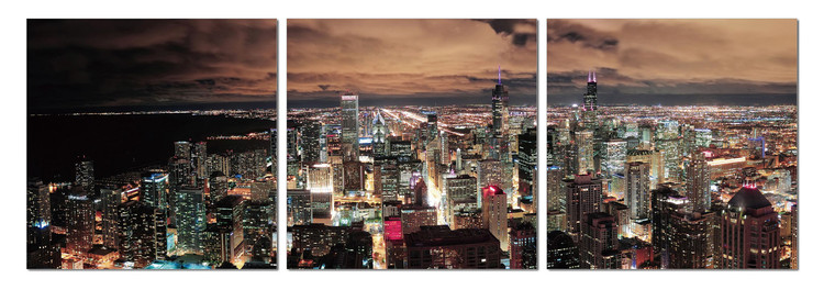 City at dusk Mounted Art Print