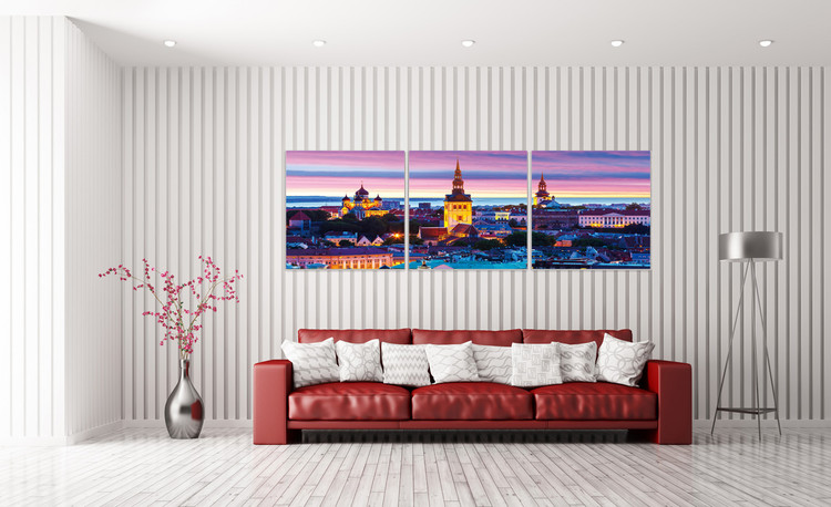 City at sunset Mounted Art Print