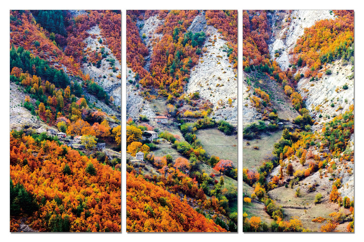 Color mountainous landscape Mounted Art Print