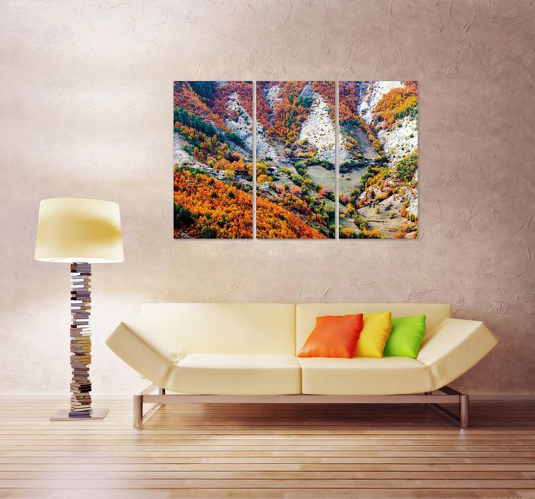 Color mountainous landscape Mounted Art Print