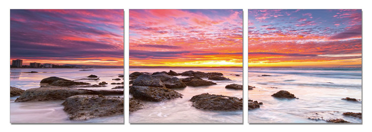 Colored sky over the sea Mounted Art Print