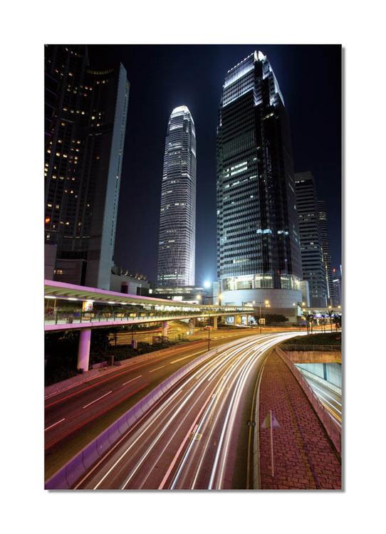 Colorful night city Mounted Art Print